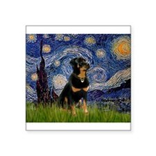 "Starry Night Rottweiler Square Sticker 3"" x 3"""