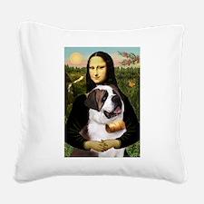 Mona / Saint Bernard Square Canvas Pillow