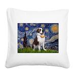 Starry / Saint Bernard Square Canvas Pillow