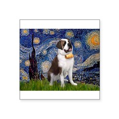 "Starry / Saint Bernard Square Sticker 3"" x 3"""