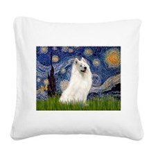 Starry / Samoyed Square Canvas Pillow