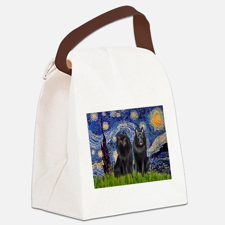 Starry Night & Schipperke Canvas Lunch Bag