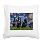 Starry / Schipperke Pair Square Canvas Pillow