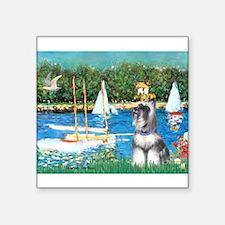 """Sailboats /Min Schnauzer Square Sticker 3"""" x 3"""""""