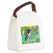 Irises / Miniature Schnauzer Canvas Lunch Bag