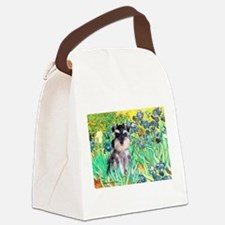 Irises / Miniature Schnauzer Canvas Lunch Bag