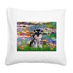 Lilies (#2)/Schnauzer Pup Square Canvas Pillow