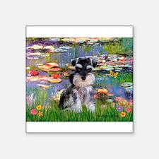 "Lilies (#2)/Schnauzer Pup Square Sticker 3"" x 3"""