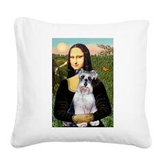 Mona Lisa/Schnauzer (#2) Square Canvas Pillow