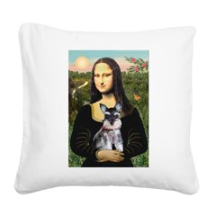 Mona Lisa's Schnauzer Puppy Square Canvas Pillow