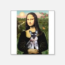 "Mona Lisa's Schnauzer Puppy Square Sticker 3"" x 3"""
