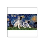 Starry Night / Min Schnauzer Square Sticker 3