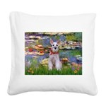 Lilies / M Schnauzer Square Canvas Pillow