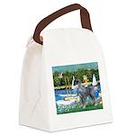 PS G. Schnauzer & Sailboats Canvas Lunch Bag