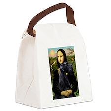 Mona Lisa /giant black Schnau Canvas Lunch Bag