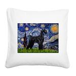 Starry Night / Schnauzer Square Canvas Pillow