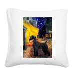 Cafe & Giant Schnauzer Square Canvas Pillow