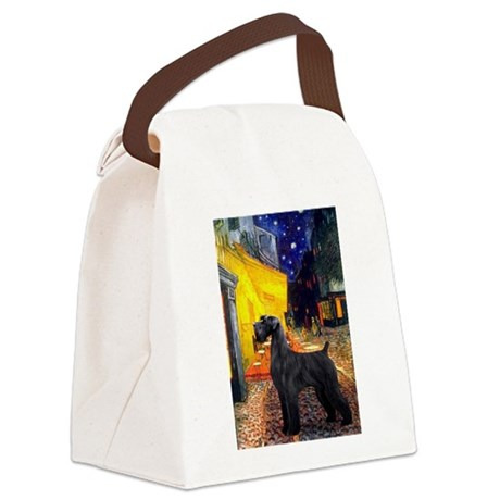 Cafe & Giant Schnauzer Canvas Lunch Bag