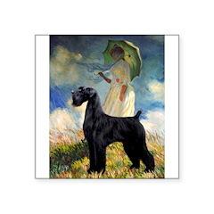 Umbrella/Giant Schnauzer (black) Square Sticker 3