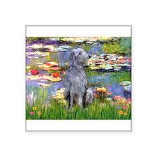 """Lilies / Scot Deerhound Square Sticker 3"""" x 3"""""""