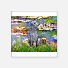 "Lilies / Scot Deerhound Square Sticker 3"" x 3"""
