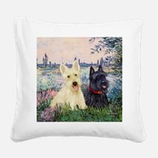 Seine / Scotties (b&w) Square Canvas Pillow