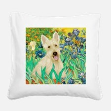 Irises / Scottie (w) Square Canvas Pillow