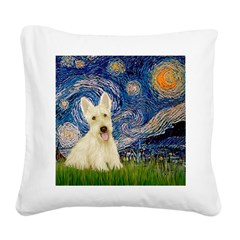 Starry Night / Scottie (w) Square Canvas Pillow