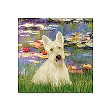 """Lilies / Scottie (w) Square Sticker 3"""" x 3"""""""