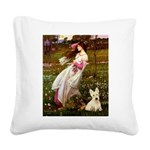 Windflowers / Scottie (w) Square Canvas Pillow