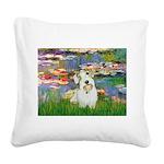 Lilies (#2)/Sealyham L2 Square Canvas Pillow