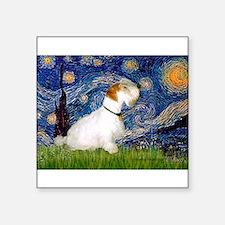 "Starry Night/Sealyham L1 Square Sticker 3"" x 3"""