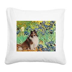 Irises / Sheltie Square Canvas Pillow