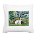 Bridge / Two Shelties (D&L) Square Canvas Pillow