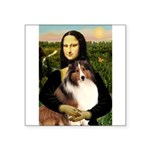 Mona Lisa / Sheltie (s&w) Square Sticker 3