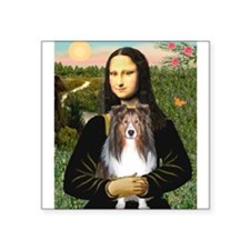 "Mona Lisa's Sheltie (S) Square Sticker 3"" x 3"""