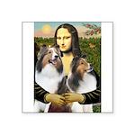 Mona Lisa / 2 Shelties (DL) Square Sticker 3