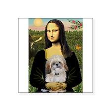 """Mona Lisa/Shih Tzu (P) Square Sticker 3"""" x 3"""""""