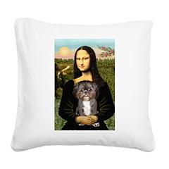 Mona / Shih Tzu(br&w) Square Canvas Pillow