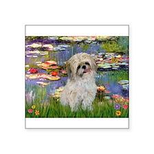 "Lilies /Shih Tzu (p) Square Sticker 3"" x 3"""