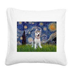 Starry-Siberian pup Square Canvas Pillow