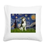 Starry Night & Husky Square Canvas Pillow