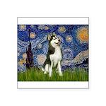 Starry Night & Husky Square Sticker 3
