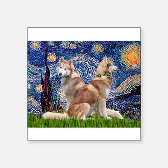 "Starry Night Red Husky Pair Square Sticker 3"" x 3"""