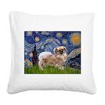 Starry / Tibetan Spaniel Square Canvas Pillow