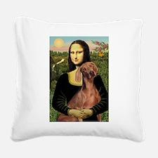Mona Lisa / Weimaraner Square Canvas Pillow