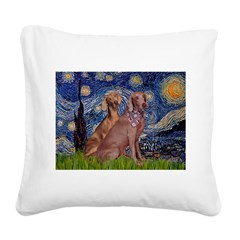 Starry / 2 Weimaraners Square Canvas Pillow