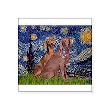"Starry / 2 Weimaraners Square Sticker 3"" x 3"""