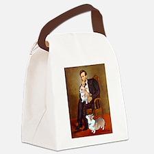 Lincoln's 2 Corgis (Pem) Canvas Lunch Bag
