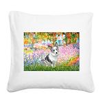 Garden / Corgi (bm) Square Canvas Pillow